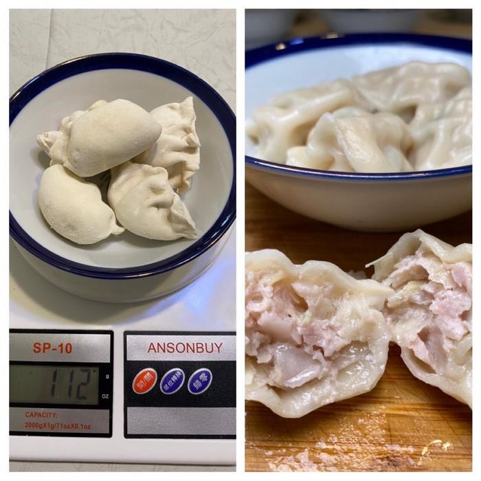台糖冷凍水餃重量與形狀
